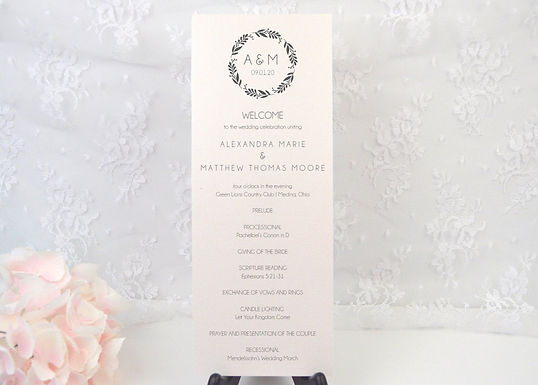 SIMPLE WREATH Ceremony Wedding Programs (Set of 20)