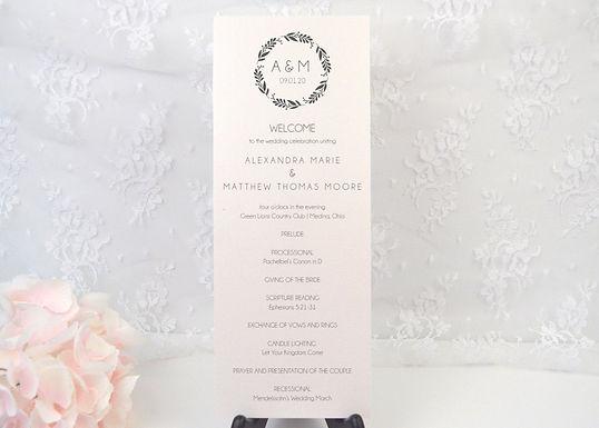 ELEGANT WREATH Ceremony Wedding Programs (Set of 10)