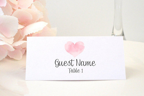 Watercolor Heart Place Card