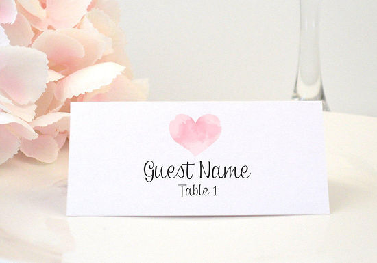 WATERCOLOR HEART Place Card (Set of 20)