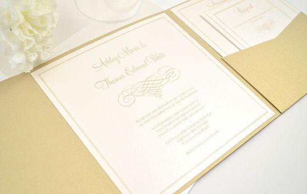 ELEGANT SCROLL Pocketfold Wedding Invitation, RSVP & Details Card (Sample)