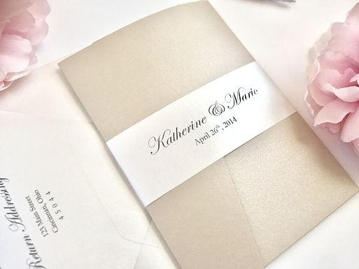 KATHERINE Pocketfold Wedding Invitation, RSVP & Details Card (Sample)