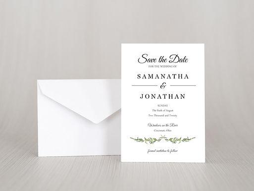 LAUREL LEAVES Save the Date Invitation & Envelope (Set of 20)