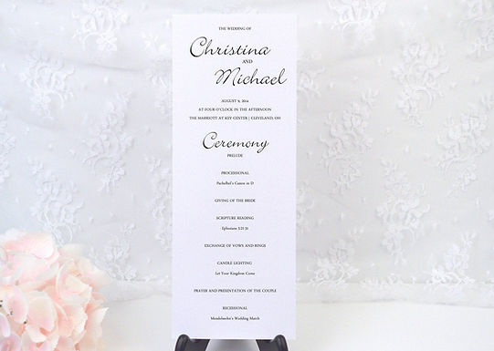 SIMPLY CLASSIC Ceremony Wedding Programs (Set of 20)