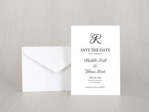 FORMAL MONOGRAM Save the Date Invitation & Envelope (Set of 20)