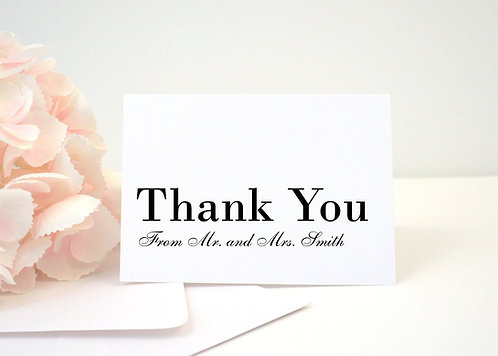 SIMPLY MODERN Thank You Cards + Envelopes with Return Addressing | Set of 10