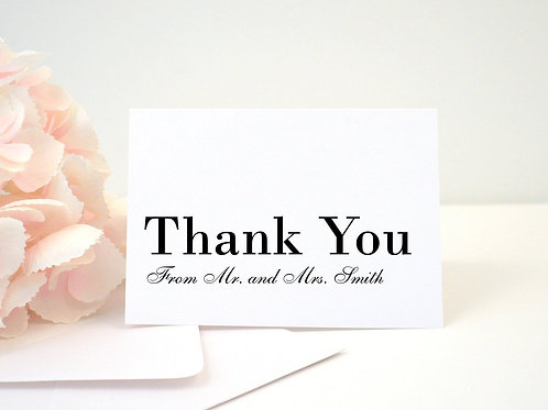 MODERN SCRIPT Thank You Cards & Envelopes (Set of 10)