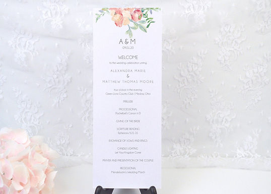 FLORAL WATERCOLOR Ceremony Wedding Programs (Set of 20)