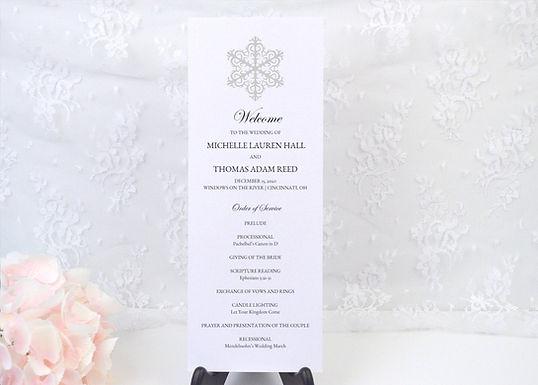 WINTER WONDERLAND Ceremony Wedding Programs (Set of 20)