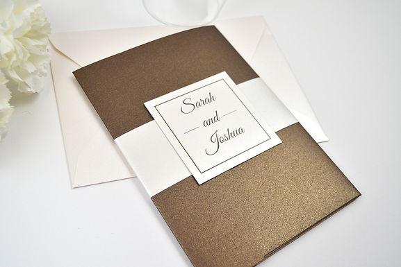 ELEGANT SCRIPT Pocketfold Wedding Invitation, RSVP & Details Card (Sample)