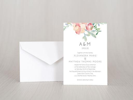 FLORAL WATERCOLOR Wedding Invitation & RSVP Card w/ Envelopes | Set of 15
