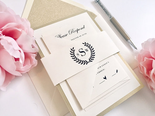 Laurel Wreath Cream and Gold Glitter Wedding Invitation Red Heart Paper Wedding Invitations