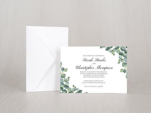 ELEGANT EUCALYPTUS Wedding Invitation & RSVP Card w/ Envelopes | Set of 15