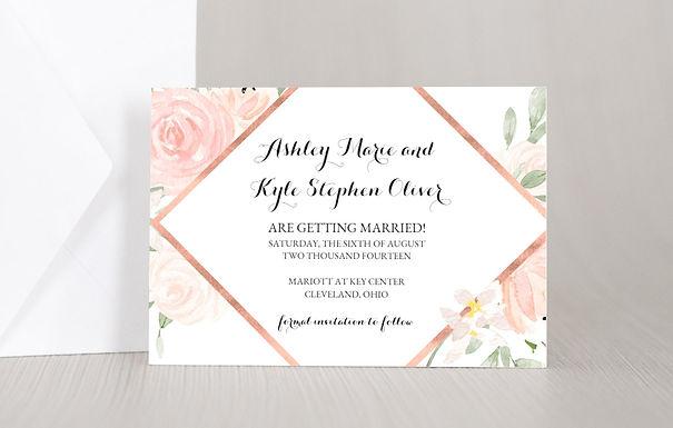 ELEGANT FLORAL Wedding Invitation & RSVP Card w/ Envelopes (Set of 20)