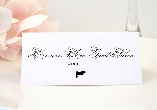 ROMANTIC SCRIPT Place Card (Set of 20)