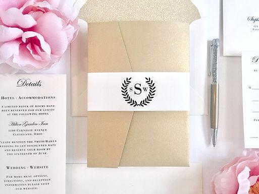 LAUREL WREATH Pocketfold Wedding Invitation, RSVP & Details Card (Sample)