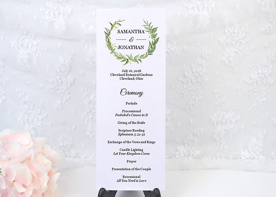 LAUREL LEAVES Ceremony Wedding Programs (Set of 20)