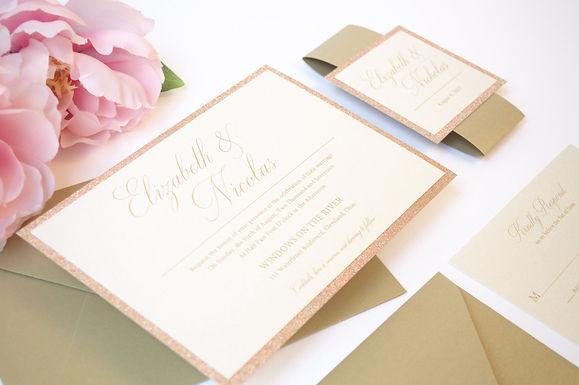 ELIZABETH Layered Wedding Invitation & RSVP Card (Sample)
