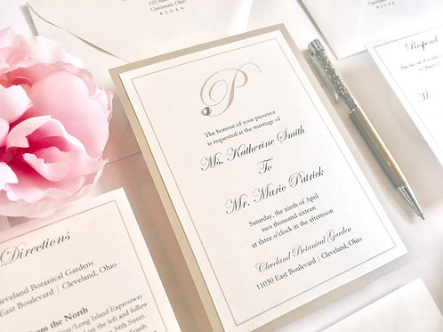 Elegant Monogram Katherine Tan Taupe Sand Shimmer and Ivory Wedding Invitation with Rhinestone by Red Heart Paper Invitations
