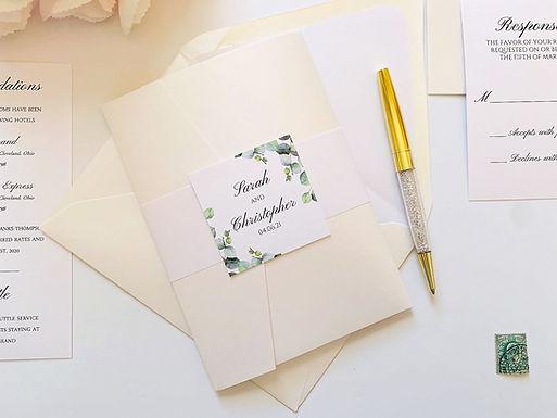 ELEGANT EUCALYPTUS Pocketfold Wedding Invitation, RSVP & Details Card (