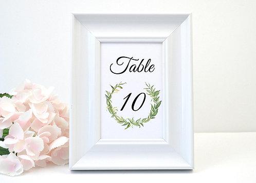 Laurel Leaves Table Number