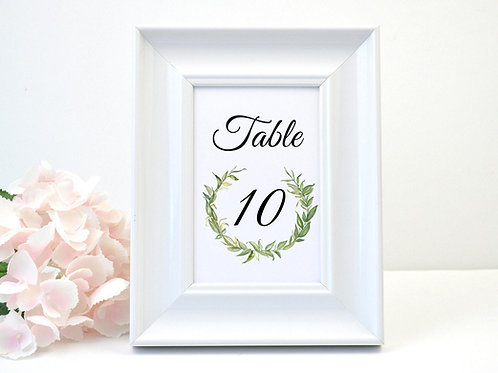 Laurel Leaves Table Number