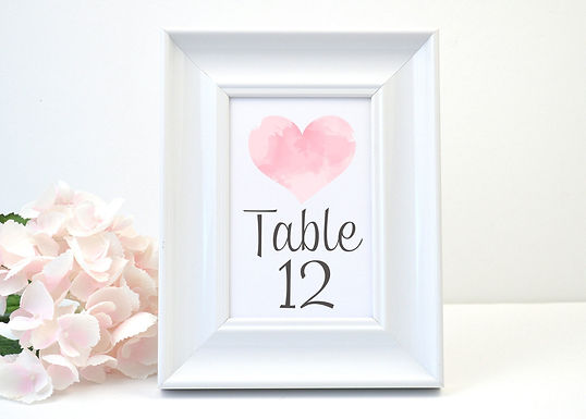 WATERCOLOR HEART Table Numbers