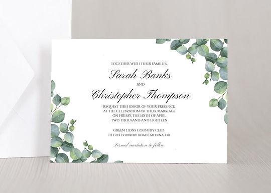 ELEGANT EUCALYPTUS Wedding Invitation & RSVP Card w/ Envelopes (Set of 20)