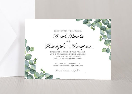 ELEGANT EUCALYPTUS Wedding Invitation & RSVP Card w/ Envelopes (Set of 20)
