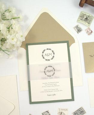 SIMPLE WREATH Layered Wedding Invitation & RSVP Card (Sample)