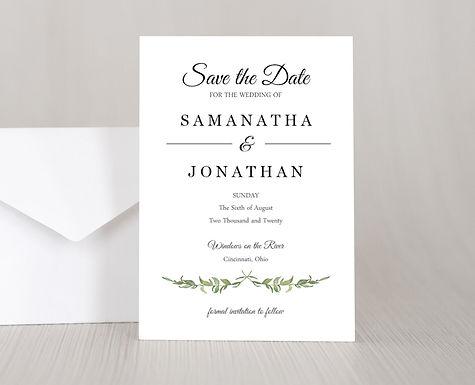 LAUREL LEAVES Wedding Invitation & RSVP Card w/ Envelopes (Set of 20)