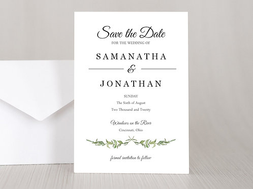 LAUREL LEAVES Wedding Invitation & RSVP Card w/ Envelopes (Set of 20)