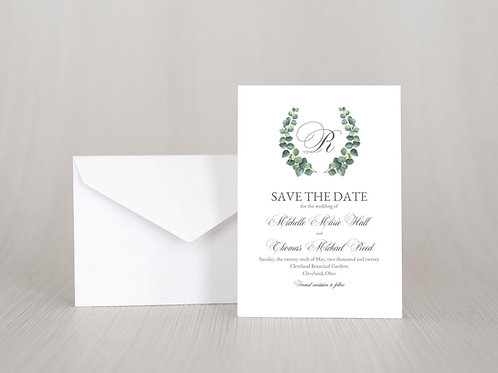 ELEGANT EUCALYPTUS Save the Date Invitation & Envelope (Set of 20)