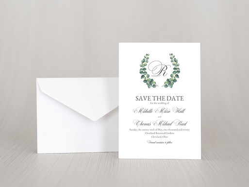 ELEGANT EUCALYPTUS Save the Date Invitation w/ Envelope | Set of 20