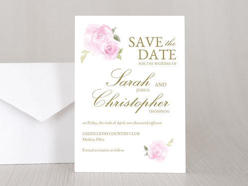 PINK ROSES Wedding Invitation & RSVP Card w/ Envelopes (Set of 20)