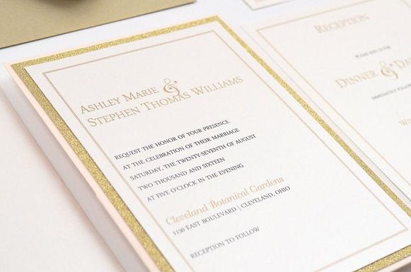 SIMPLY ROMANTIC Panel Pocket Wedding Invitation, RSVP & Details Card (Sample)