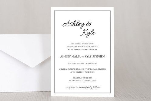 ASHLEY Wedding Invitation & RSVP Card w/ Envelopes (Set of 20)