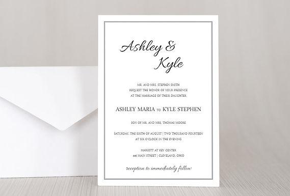 ASHLEY Wedding Invitation & RSVP Card w/ Envelopes (Set of 20)