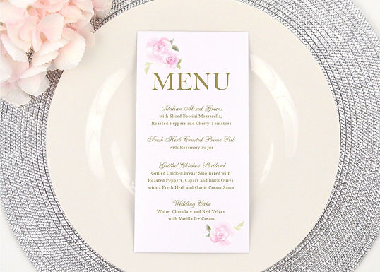 PINK ROSES Menus (Set of 20)