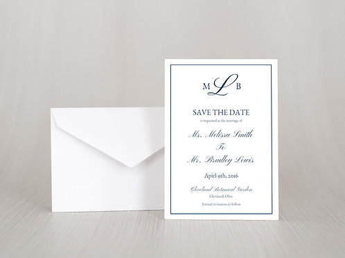 MELISSA Save the Date Invitation w/ Envelope | Set of 20