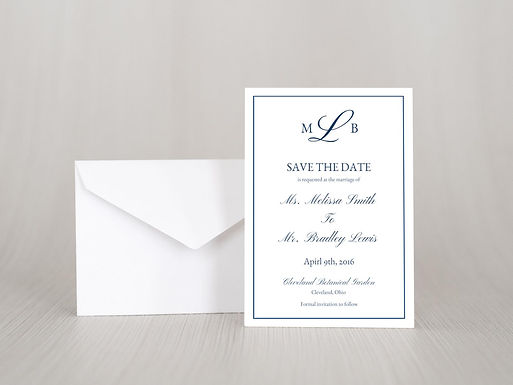 MELISSA Save the Date Invitation & Envelope (Set of 20)