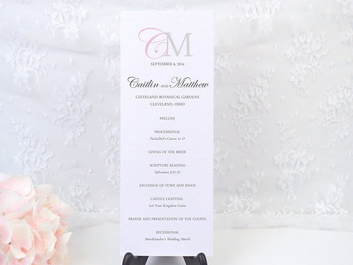 Modern Monogram Ceremony Program