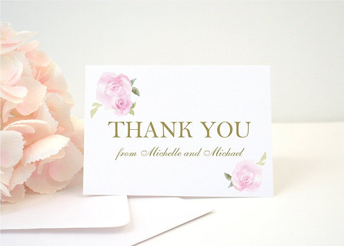PINK ROSES Thank You Cards + Envelopes with Return Addressing | Set of 10