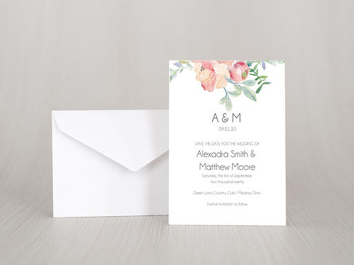 FLORAL WATERCOLOR Save the Date Invitation & Envelope (Set of 20)