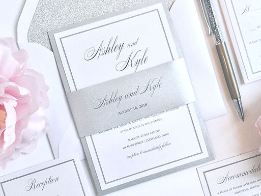 ASHLEY Layered Wedding Invitation & RSVP Card (Sample)