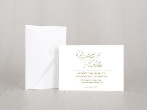 ELIZABETH Save the Date Invitation & Envelope (Set of 20)