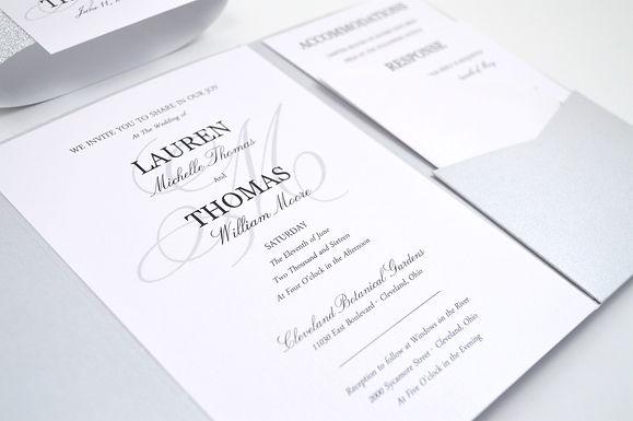 SIMPLE ELEGANCE Pocketfold Wedding Invitation, RSVP & Details Card (Sample)