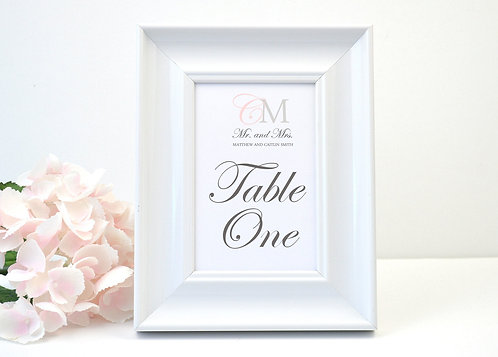 Modern Monogram Table Numbers