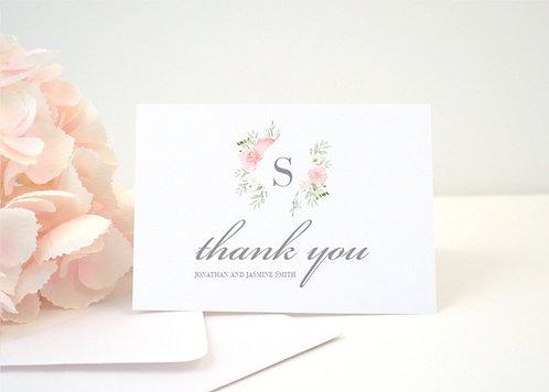 FLORAL FRAME Thank You Cards + Envelopes with Return Addressing | Set of 10