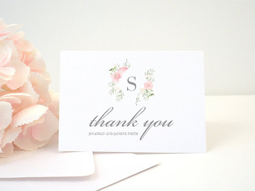 FLORAL FRAME Thank You Cards & Envelopes (Set of 10)